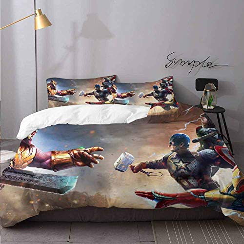 Bed Sheets Set Thanos Vs Iron Man Thor Captain America Bed Sheets And Comforter Set Bedding 3 Piece Duvet Cover Set Oversized King