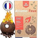 Encendedores Con Posos De Café Reciclados - 100% Natural Ecológica Para Barbacoa, Chimenea, Fuego y Estufa - 30 Pastillas Para 60 Encendidos - Combustion Lenta y Eficiente