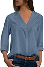 Xinantime Womens Solid Chiffon V-Neck T-Shirt Office Ladies Plain Roll Sleeve Blouse Tops Casual Tee Tunic