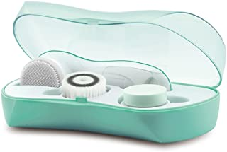 TOUCHBeauty Facial Brush Skin Deep Cleansing & Exfoliating Device FDA Certification with 3 Spin Brushes Original & Official Manufacture Direct | Travel Case, Waterproof, Battery Powered Mint Green