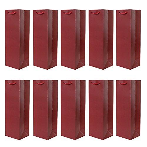 Set van 10 cadeautasjes donkerrode flestasjes voor wijn en ook voor mousserende wijn of champagne 36x12x10 cm