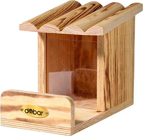 dobar Eichhörnchen-Futterstation mit Futtersilo, Futterstelle aus Holz, 24 x 15 x 17 cm, Kiefer, geflammt, Braun, 22239FSCe