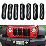 TUINCYN Jeep Grille Jeep Wrangler Mesh Grill Front Insert Kit Black for for 2007-2015 Jeep 7 Pieces / Set