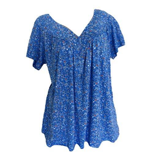 ESAILQ Damen T-Shirt Ladies Long Back Shaped Spray Dye Tee(XL,Weiß)