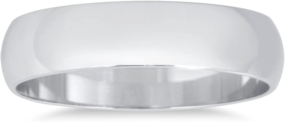 4mm Domed Wedding Band in 10K White Gold