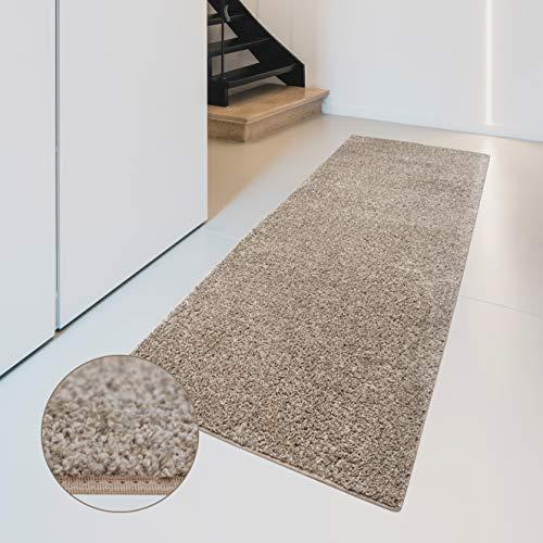Carpet Studio Flauschig-weiche Haptik Teppichläufer 57x150cm, Wohnzimmer/Schlafzimmer/Küche/Flur, praktische Reinigung, per Hand fertiggestellt, Camel