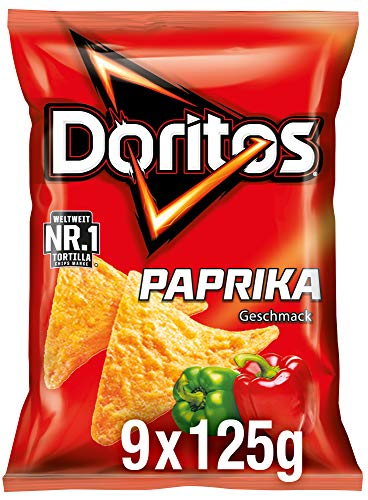 Doritos Paprika - Paprika Tortilla Nachos - Herzhafter Snack zum Knabbern aus Mais - 9 x 125g