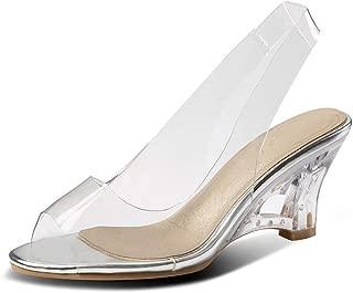 MIOKE Women's Clear Wedge Slide Sandals Fashion Crystal Open Toe Slip On Slingback High Heel Dress Sandal