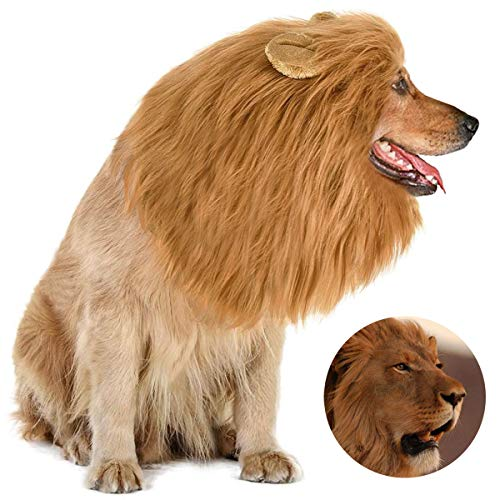 Dog Lion Mane Pet Halloween Costumes Dogs Adjustable Lion Wig Party Outfit Cosplay Apparel for Medium Large for Dogs Pet Clothes Dog Lion Mane Wig for Dogs (Brown)