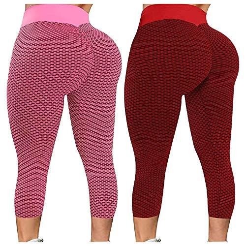 Mallas de yoga para mujer, 2 unidades, anticelulitis, para yoga, fitness, con push-up, elásticas, para entrenamiento marrón L