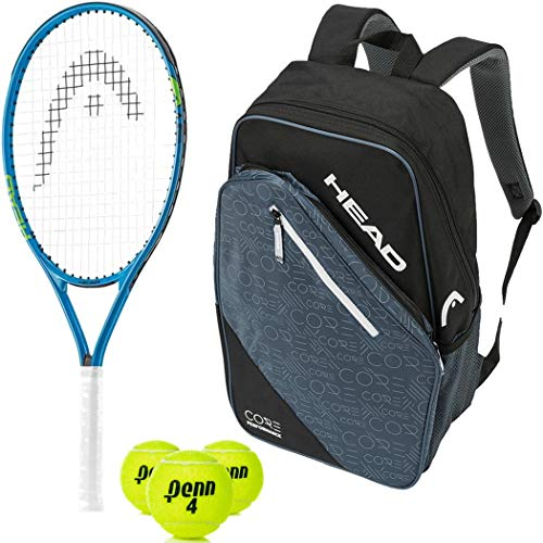 """HEAD Speed 25"""" Junior Tennis Racquet Starter Kit Bundled with a Core Tennis Backpack and a Can of Tennis Balls (Best Back to School Gift)"""