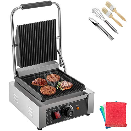 Happybuy Sandwich Press Grill 110V Panini Maker and Grill 1800W Commercial Panini Grill Durable Stainless Steel with Adjustable Temperature Control Cooking Non Stick Surface Grooved Plates
