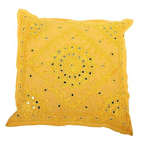 albena shop 72-110 Raja Couverture de Coussin Indien Brocart 40 x 40 cm Jaune