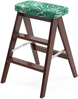 Stepladder/Ladder/Foldable Treadmill Chair 3, Green Wooden Household Chair Stepladder Sponge Seat Large Stool Use Max. 120 Kg for Kitchen Outdoor