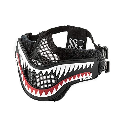 OneTigris X Storm Airsoft Mask Foldable Mesh Mask with Removable Shark Jaw Morale Patch (White Teeth)