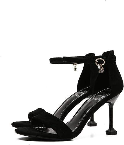 Chenyuan Chaussures à Talons Fins avec Sandales à à la Mode Open Toe Explosions for Les Les Les dames (Couleur   noir8 cm, Taille   38)  bonne réputation