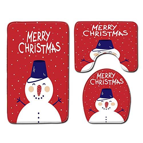 LINXYU Alfombra navideña Decoración navideña Juego de Tres Piezas Santa Floor Mat Carpet Festival Felpudo decoración de la Sala de Estar, PJ200620, A009,50cm x80cm