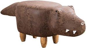 M&M's Taburete de Juguete para niños, cocodrilo Modelo tecnología de Relleno de Esponja Gel Muebles creativos decoración del hogar reposapiés de Madera Maciza sofá Taburete Banco de Zapatos,Brass