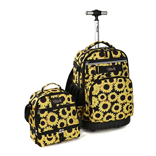 Tilami Rolling Backpack 19 inch with Lunch Bag Wheeled Laptop Backpack (Sunflower)