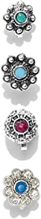 Zaveri Pearls Combo Of 4 Antique Silver Tone Flower Shape Adjustable Nose Pin For Women-ZPFK8271