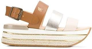 Luxury Fashion | Hogan Women HXW4320BK60KXZ0QEO Brown Leather Sandals | Season Permanent