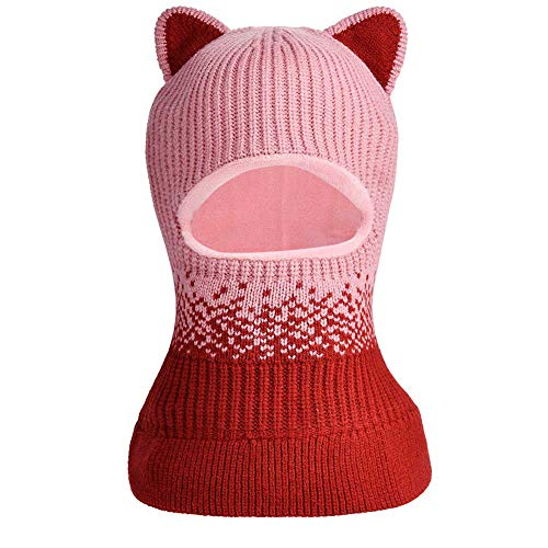 Toddlers Girls Boys Winter Scarf Shawl Hat Warm Knit Face Cover Balaclava (Dark Pink)
