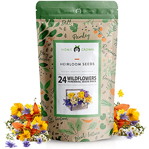 Wildflower Seeds | Bulk Mix of 24 Different Varieties of Non-GMO Wildflower Seeds 3oz | Bee and...