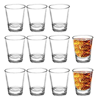 JOLLY CHEF Shot Glass Set with Heavy Base 1.5 Ounce 24 Pack Tequila Shot Glasses Clear Shot Glass for Whiskey and Liqueurs,Ideal for Halloween ,Thanksgiving ,Christmas   Round …