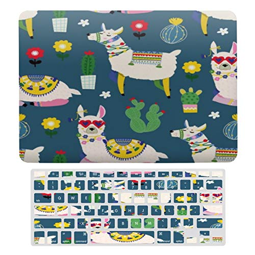 Case for MacBook Llamas in Sunglasses Pattern Plastic Pattern Hard Case & Keyboard Cover Only Compatible with MacBook New Pro 13 Touch (models: A1706、A1989、 A2159)