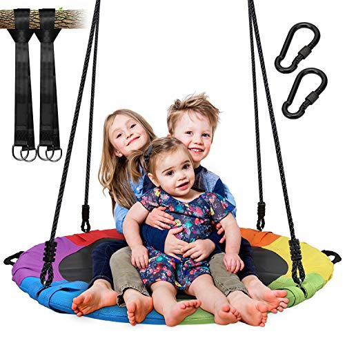 Vanku Nest Outdoor Tree Swing with Resistant Waterproof Frame, Giant 40' Round Web, 2 Adjustable Tree Hanging Ropes, Safe and Durable Swing Seat for Kids (Rainbow)