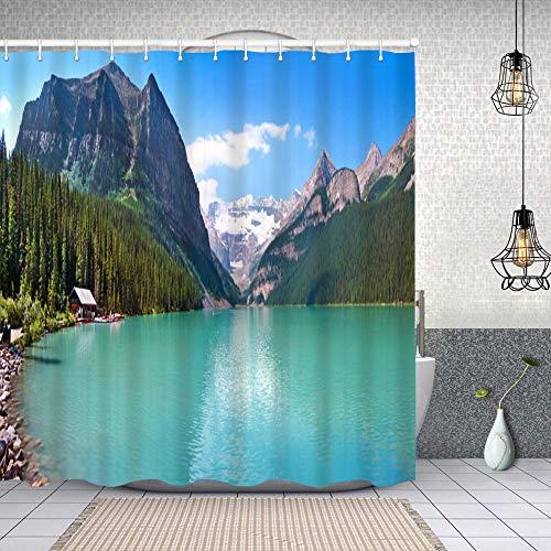 Cortina de Baño con 12 Ganchos,Panorama de la montaña y el Lago Louise en el Parque Nacional Banff, Alberta, Canadá,Cortina Ducha Tela Resistente al Agua para baño,bañera 150X180cm