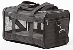 Perfect for traveling in style and comfort by plane or car, for an adventure or just a trip to the vet Patented spring wire frame allows the rear end of the carrier to be pushed down several inches to conform to under-seat requirements Mesh windows f...