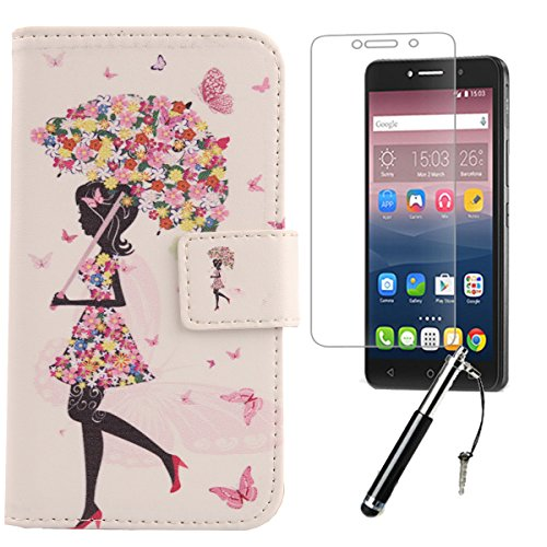 Lankashi Umbrella Girl 3in1 PU Flip Leder Tasche Für Alcatel One Touch Pixi 4 6