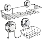 iPEGTOP Shower Caddy Basket Shelf & Soap Dish Holder & Bath Hook for Bathroom Shampoo Conditioner Kitchen Storage Organizer Rustproof Stainless Steel, No Drilling Suction Cup - 3 Pack