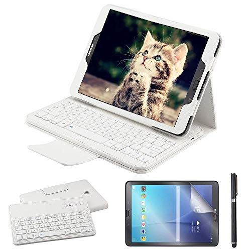 Galaxy Tab S3 9.7 Keyboard Case with Screen Protector & Stylus, REAL-EAGLE PU Leather Case with Detachable Wireless Bluetooth Keyboard for Samsung Galaxy Tab S3 9.7 Inch SM-T820 T825, White