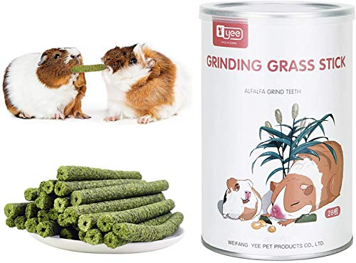 28 PCS - Natural Timothy Hay Sticks, Grass Chew Sticks, Chew Treats Toy,for Small Animals Rabbit Guinea Pigs Chinchilla Hamster,Wheatgrass