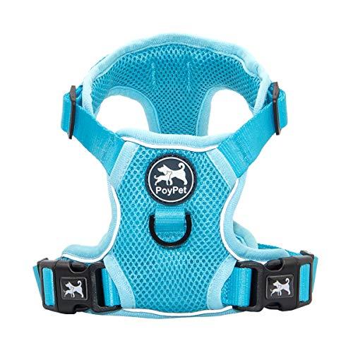 PoyPet Reflective Soft Breathable Mesh Dog Harness No Choke Double Padded Vest Adjustable(Light Blue,M)