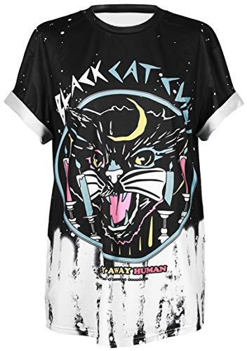 Ocean Plus Unisex 3D Druck Graffiti Alien T-Shirt Loose Fit Wild Verrückt Wahnsinn Tee Shirt Tops (L/XL, 012 Black Cat)