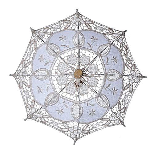 Steellwingsf Paraguas de novia, de encaje para mujer, sombrilla para fiesta, fotografía, decoración de boda, beige, L