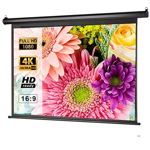 Manual Pull Down Projector Screen 100 inch 16:9 3D 4K HD, Retractable Auto-Locking Projection Screen for Indoor Home Theater Cinema, School Office Presentation, Wall/Ceiling Mounted Movie Screen