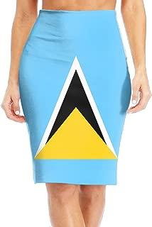 Saint Lucia Flag Women's High Waist Bodycon Midi Pencil Skirt Suiting Slim Office Skirt