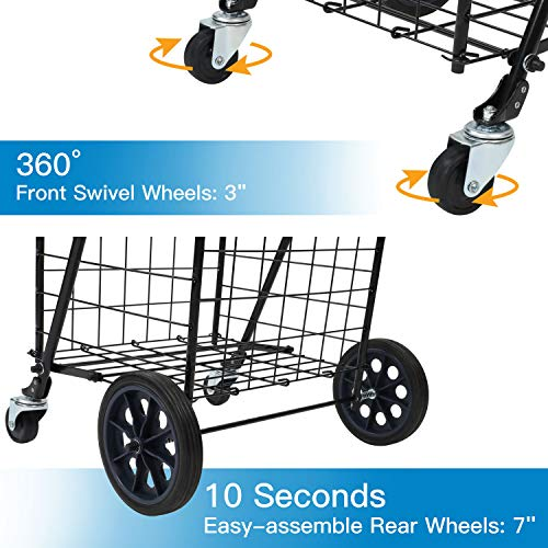 Pipishell Shopping Cart with Dual Swivel Wheels for Groceries - Compact Folding Portable Cart Saves Space - with Adjustable Handle Height - Lightweight Easy to Move Holds up to 70L/Max 66Ibs -PITUC1