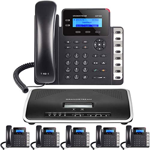 Business Phone System by Grandstream: Starter Pack with Auto Attendant, Voicemail, Cell & Remote Phone Extensions, Call Recording & Free Mission Machines Phone Service for 1 Year (6 Phone Bundle)