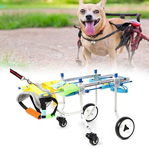 Silla de Ruedas Ajustable para Perros, Aleación de Aluminio XS Widen 4 Ruedas Discapacitados Mascotas Paseo Asistido Coche Mascota Pierna Trasera Ejercicio Rehabilitación Carro para Gato Pequeño(XS)