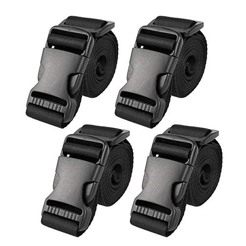 """Utility Straps with Buckle 72"""" Lx1.25 W Quick-Release Adjustable Nylon Straps Black, 4 Pack"""