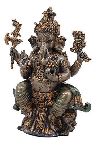 Ebros Hindu Lord Ganesha Sitting On Throne Statue Elephant God Hoysala Empire Ganapati Decorative Figurine