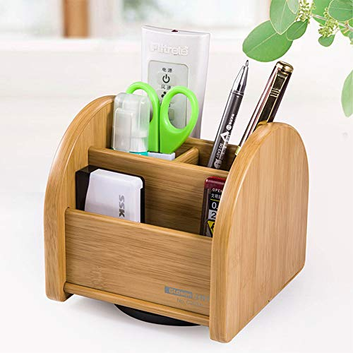 IWILCS Stiftehalter Schreibtisch Organizer Bambus Schreibtisch Organizer für Ihr Kosmetik Smartphone Fernbedienung und andere Kleinteile Holz