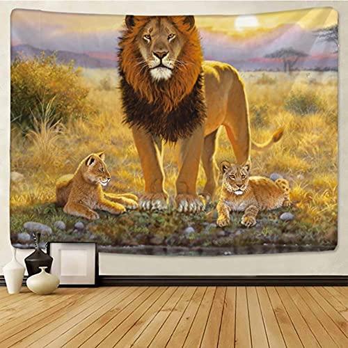 León estry animales de pastizales africanos Cartoonwall colgante toalla de playa manta de poliéster fina yoga-gt183-8,150x150cm