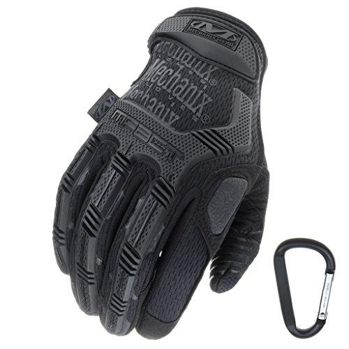 Mechanix WEAR M-PACT Tactical Einsatz-Handschuh, optimaler Schutz, atmungsaktiv beste Passform + Gear Karabiner, Schwarz Covert, Coyote, Multicam, Wolf Grey, Größe: S,M,L,XL (S, Schwarz)