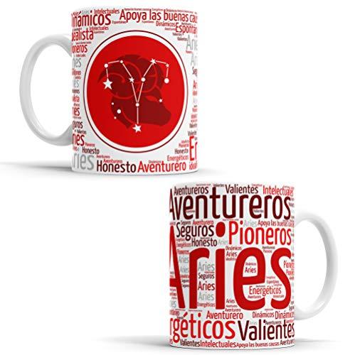 Tazas Horóscopo - Tazas con Todos los Signos del Zodiaco Taza de café de Signo del Zodiaco - Regalo Ideal para Origina (Aries)